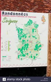Map Of Burgundy France by Map Of A Walking Route In Sivignon In Burgundy France Stock Photo