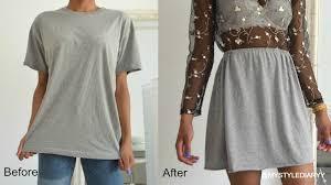diy clothing hack transform a t shirt into a skirt mystylediaryy
