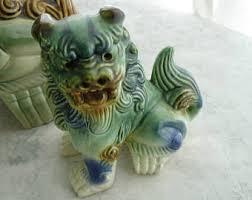 small foo dogs mid century foo dog foo lion statues pair temple ying yang shi
