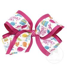 wee ones hair bows happy birthday bow exclusive print design from wee ones