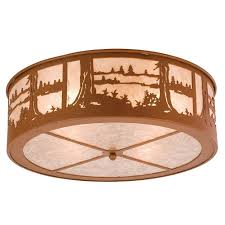 Flush Mounted Ceiling Lights Rustic Lighting Wolf Flush Mount Ceiling Light Cabin Place