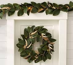 magnolia leaf garland lit magnolia garland pottery barn