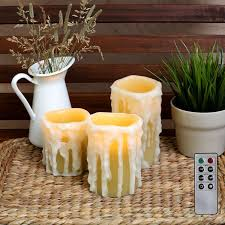 best set of 3 drip pillar wax candles flameless candles in 3 sizes