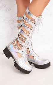 white biker boots josiana silver holographic lace up biker boots shoes