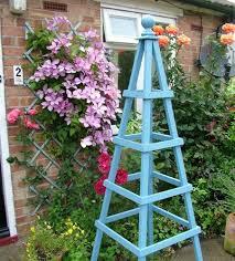 blue obelisk plant support garden clematis plants