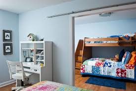 bunk beds with stairs in kids contemporary with room partition
