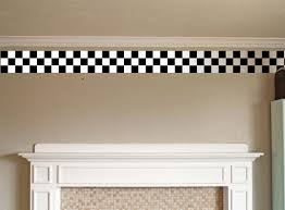 Wall BORDER CHECKER BOARD Decal Kitchen Family Room Den EDGING - Family room wall decals