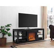 ameriwood parsons black 65 in tv stand console with fireplace
