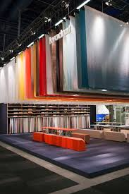 a colourful textile sky at the kvadrat stand during stockholm