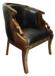 Leather Upholstery Chair Hand Carved Mahogany Swan Tub Chair With Black Faux Leather Seat