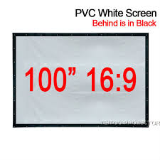 projektionsfläche 100 zoll 16 9 pvc weich weiß schwarz projektionsfläche vorhang