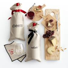 wine gift ideas linen wine bag with grosgrain tie and graham