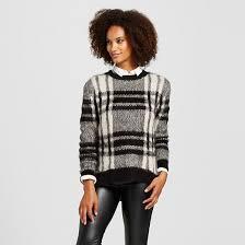 plaid sweater s plaid fuzzy sweater black white xs cliché target