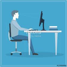 Computer Desk Posture Correct Sitting Posture At Computer Vector