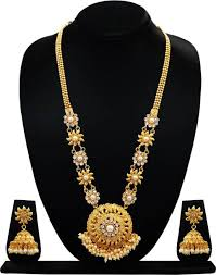 gold long necklace set images Long gold necklace buy long gold necklace online at best prices jpeg
