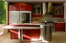 Mahogany Kitchen Cabinet Doors by Elegant Red Wall Ideas With Grey Countertop And Natural Lighting