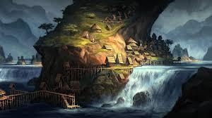 dark village wallpaper artwork fantasy art village villages house waterfall river water