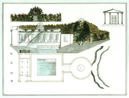 plan section and elevation of an underground classical style