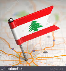 Libanese Flag Lebanon Small Flag On A Map Background