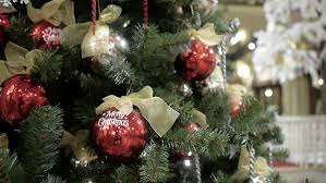 Christmas Decorations Video Lights by Christmas Tree Decorated With Balls In Sparkling Lights Stock