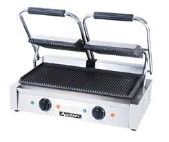Toaster Press Adcraft Sg 813 Double Commercial Panini Press W Cast Iron Grooved