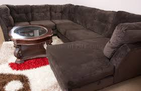 Soft Sectional Sofa Mocha Brown Suede Fabric Modern 3pc Sectional Sofa