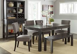 Jennifer Convertibles Dining Room Sets | gavelston rectangular dining table w bench 4 gray side chairs