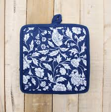 indigo kalamkari pot holder from the exclusive home decor and