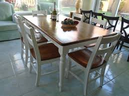 rustic farmhouse table brown stained top white painted legs 6