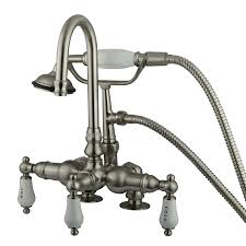 shop kingston brass vintage satin nickel 3 handle fixed wall mount bathtub faucet at lowes com shop kingston brass vintage satin nickel 3 handle fixed wall mount