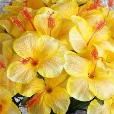 Yellow Hibiscus Flowers - 60 pcs silk hibiscus flowers for wedding bouquets centerpieces