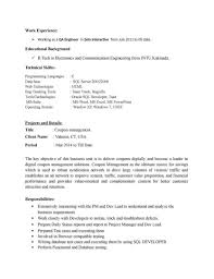Html Resume Examples Resume Sample For Fresher Software Tester Templates