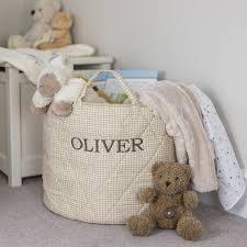 Baby Storage Baskets Neutral Gingham Toy Storage Basket By Kiddiewinkles