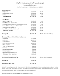 Income Statement Excel Template by Artist Profit And Loss Statement Art Marketing And Business By
