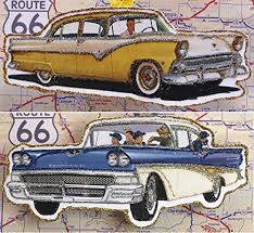 two vintage ad classic car ornaments glittered wooden