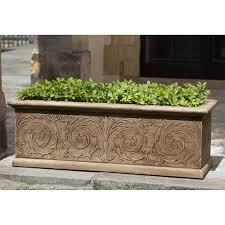 Window Boxes Planters by Campania International Arabesque Cast Stone Window Box Planter