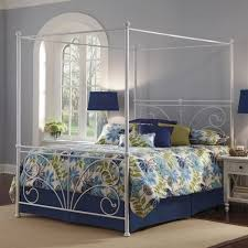 furniture white iron canopy bed frame with blue green leaves