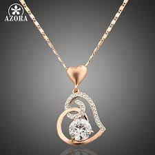 s day necklace aliexpress buy azora gold color stellux crystals heart