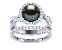 pearl and diamond engagement rings tahitian pearl rings americanpearl