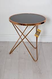 copper coffee table round side end lamp tables black top modern