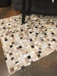 Patchwork Area Rug 5 X 7 Cowhide Patchwork Area Rug Browns Invio Furniture