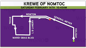 New Orleans Parade Routes Map by Parade Route Krewe Of Nomtoc Wgno