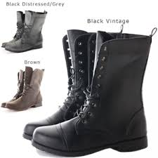 s boots style womens combat style army worker ankle boots flat