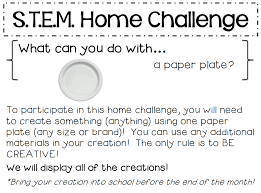 Challenge Directions Miss Beverly S Class S T E M Paper Plate Home Challenge