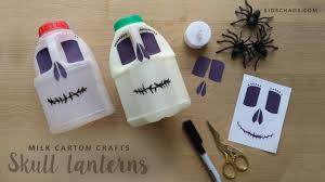 milk carton skull lamps for halloween youtube