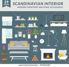interior items for home modern furniture items home accessories living stock vector