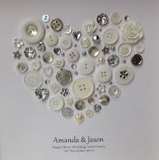 silver anniversary gifts silver anniversary gift 25th wedding by buttonartbysophie on etsy