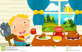 Art For The Dining Room Cartoon Boy Eating In The Dining Room Stock Illustration Image