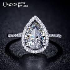 diamond rings aliexpress images Buy umode tear drop shaped genuine 925 sterling jpg