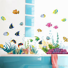 diy tropical fish nursery room cartoon undersea world wall sticker
